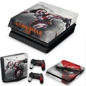 KIT PS4 Slim Skin e Capa Anti Poeira - God Of War #A