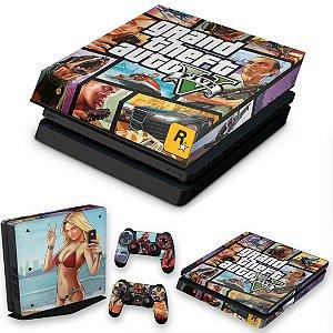 KIT PS4 Slim Skin e Capa Anti Poeira - Gta V