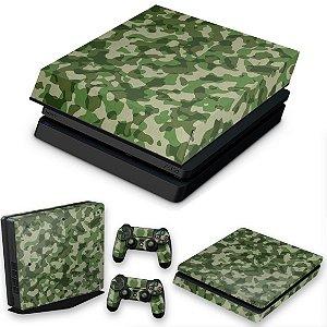 KIT PS4 Slim Skin e Capa Anti Poeira - Camuflagem Exercito
