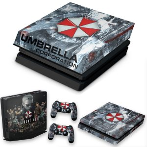 KIT PS4 Slim Skin e Capa Anti Poeira - Resident Evil Umbrella