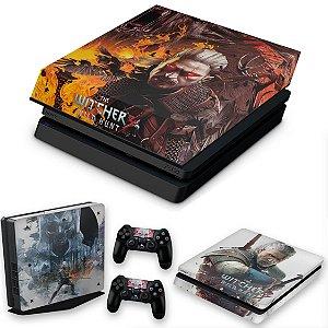 KIT PS4 Slim Skin e Capa Anti Poeira - The Witcher #B