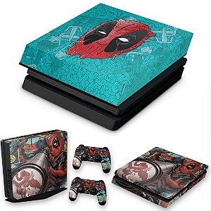 KIT PS4 Slim Skin e Capa Anti Poeira - Deadpool
