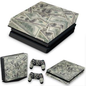 KIT PS4 Slim Skin e Capa Anti Poeira - Dollar Money Dinheiro