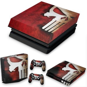 KIT PS4 Slim Skin e Capa Anti Poeira - The Punisher Justiceiro