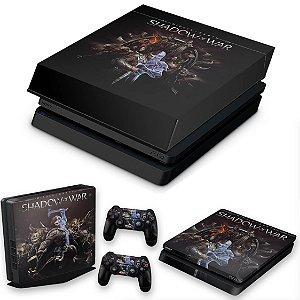 KIT PS4 Slim Skin e Capa Anti Poeira - Shadow Of War