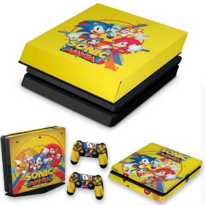 KIT PS4 Slim Skin e Capa Anti Poeira - Sonic Mania
