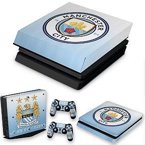 KIT PS4 Slim Skin e Capa Anti Poeira - Manchester City Fc
