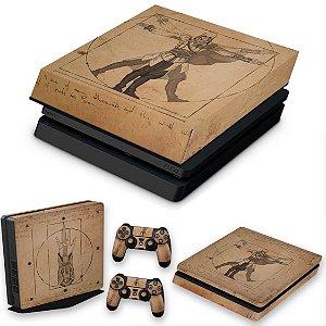KIT PS4 Slim Skin e Capa Anti Poeira - Assassin'S Creed Vitruviano