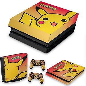 KIT PS4 Slim Skin e Capa Anti Poeira - Pokemon Pikachu