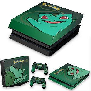 KIT PS4 Slim Skin e Capa Anti Poeira - Pokemon Bulbasaur
