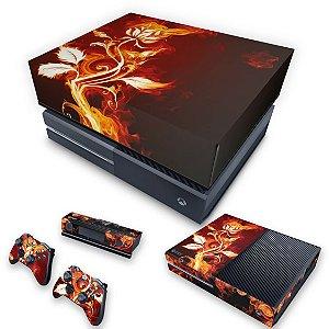 KIT Xbox One Fat Skin e Capa Anti Poeira - Fire Flower