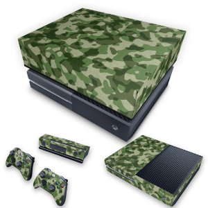 KIT Xbox One Fat Skin e Capa Anti Poeira - Camuflagem Verde