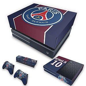 KIT Xbox One Fat Skin e Capa Anti Poeira - Paris Saint Germain Neymar Jr PSG