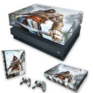 KIT Xbox One X Skin e Capa Anti Poeira - Assassins Creed Black Flag