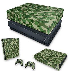 KIT Xbox One X Skin e Capa Anti Poeira - Camuflagem Verde