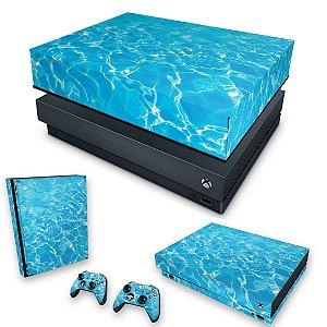 KIT Xbox One X Skin e Capa Anti Poeira - Aquático Água