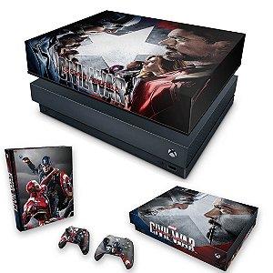 KIT Xbox One X Skin e Capa Anti Poeira - Capitão America - Guerra Civil