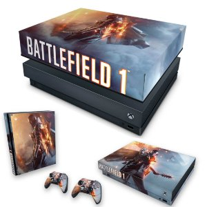 KIT Xbox One X Skin e Capa Anti Poeira - Battlefield 1
