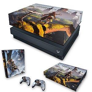 KIT Xbox One X Skin e Capa Anti Poeira - Horizon Zero Dawn