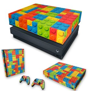 KIT Xbox One X Skin e Capa Anti Poeira - Lego