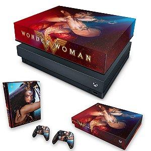 KIT Xbox One X Skin e Capa Anti Poeira - Mulher Maravilha