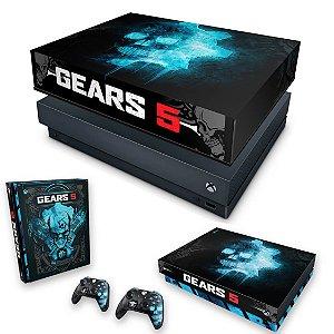 KIT Xbox One X Skin e Capa Anti Poeira - Gears 5