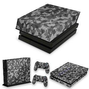 KIT PS4 Fat Skin e Capa Anti Poeira - Camuflagem Cinza