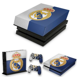 KIT PS4 Fat Skin e Capa Anti Poeira - Real Madrid