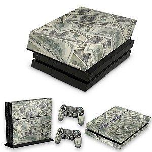 KIT PS4 Fat Skin e Capa Anti Poeira - Dollar Money Dinheiro