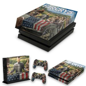 KIT PS4 Fat Skin e Capa Anti Poeira - Far Cry 5
