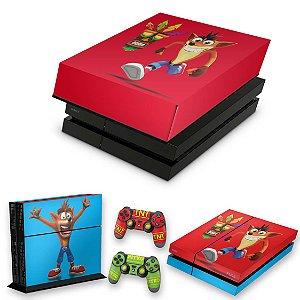 KIT PS4 Fat Skin e Capa Anti Poeira - Crash Bandicoot
