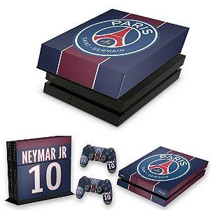 KIT PS4 Fat Skin e Capa Anti Poeira - Paris Saint Germain Neymar Jr Psg