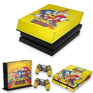 KIT PS4 Fat Skin e Capa Anti Poeira - Sonic Mania