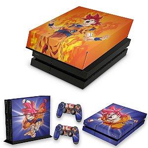 KIT PS4 Fat Skin e Capa Anti Poeira - Dragon Ball Super Goku