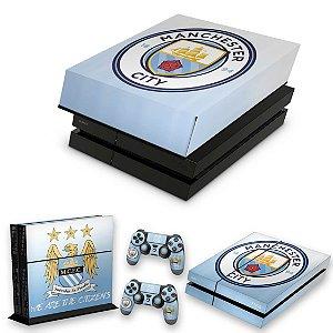 KIT PS4 Fat Skin e Capa Anti Poeira - Manchester City Fc