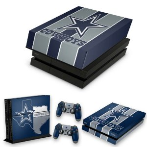 KIT PS4 Fat Skin e Capa Anti Poeira - Dallas Cowboys Nfl