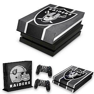 KIT PS4 Fat Skin e Capa Anti Poeira - Oakland Raiders Nfl