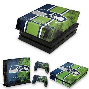 KIT PS4 Fat Skin e Capa Anti Poeira - Seattle Seahawks - Nfl