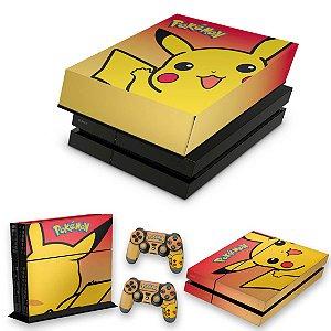 KIT PS4 Fat Skin e Capa Anti Poeira - Pokemon Pikachu