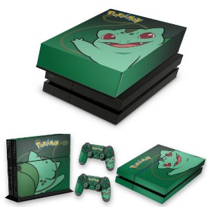 KIT PS4 Fat Skin e Capa Anti Poeira - Pokemon Bulbasaur