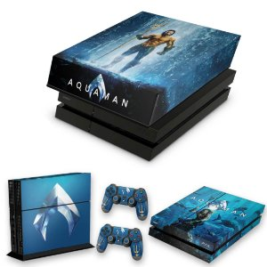 KIT PS4 Fat Skin e Capa Anti Poeira - Aquaman