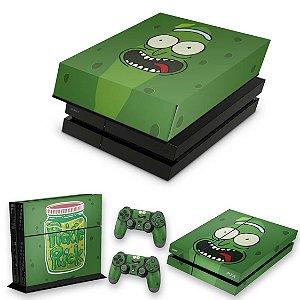 KIT PS4 Fat Skin e Capa Anti Poeira - Pickle Rick And Morty