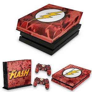 KIT PS4 Fat Skin e Capa Anti Poeira - The Flash Comics