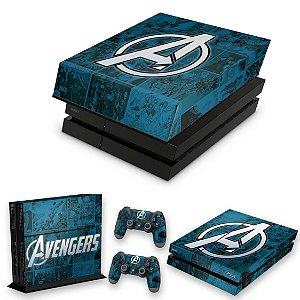 KIT PS4 Fat Skin e Capa Anti Poeira - Avengers Vingadores Comics