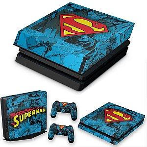 KIT PS4 Slim Skin e Capa Anti Poeira - Super Homem Superman Comics