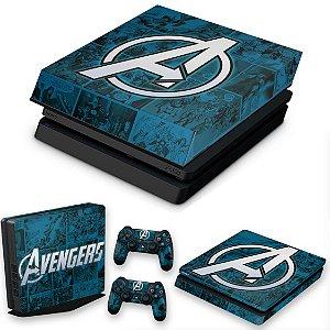 KIT PS4 Slim Skin e Capa Anti Poeira - Avengers Vingadores Comics