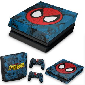 KIT PS4 Slim Skin e Capa Anti Poeira - Homem-Aranha Spider-Man Comics