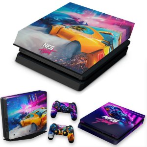 KIT PS4 Slim Skin e Capa Anti Poeira - Need For Speed Heat