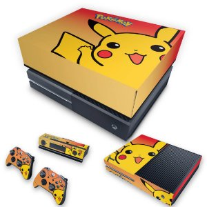 KIT Xbox One Fat Skin e Capa Anti Poeira - Pokemon Pikachu