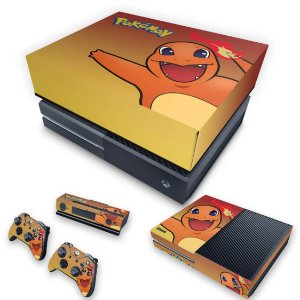 KIT Xbox One Fat Skin e Capa Anti Poeira - Pokemon Charmander